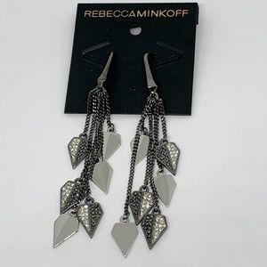 Rebecca Minkoff Gunmetal Pave Dangle Earrings NWT